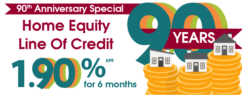 Home Equity Line of Credit: 1.90% APR for the first 6 months